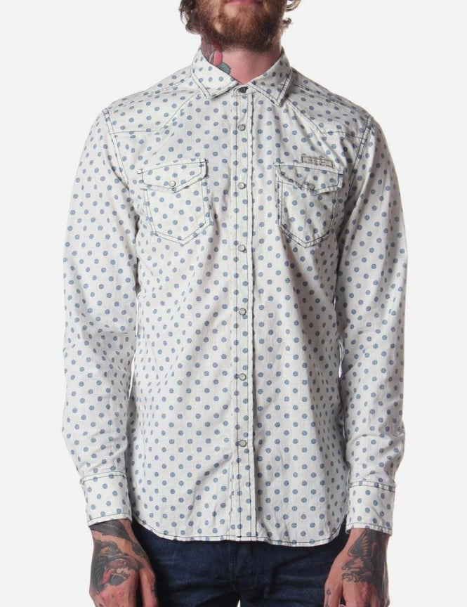 Diesel Scamasax-R Men's Repeat Cog Pattern Shirt White