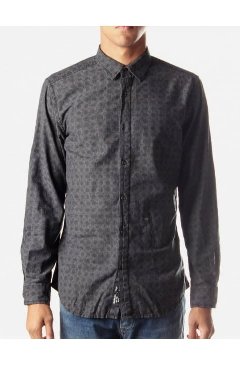 Shaaron-R Men's Print Shirt Black