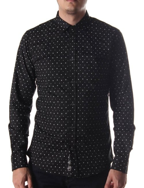 Diesel star pattern men 39 s long sleeve shirt black for Long sleeve shirt pattern