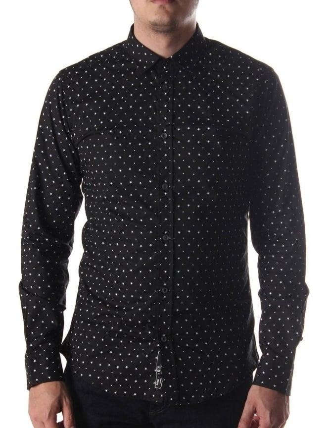 ca84a6b88f0 Diesel Star Pattern Men s Long Sleeve Shirt Black