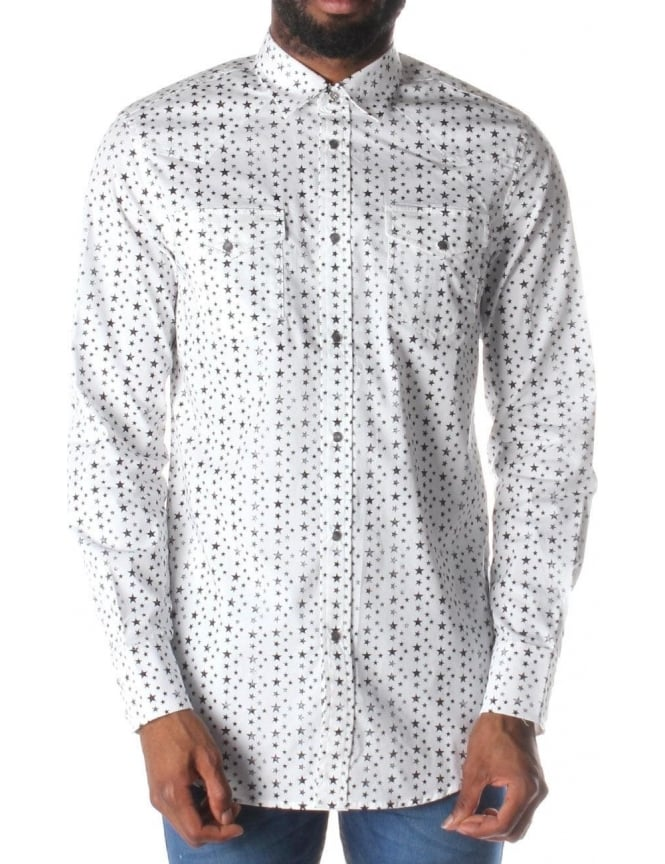 Diesel Sulf Star Men's Button Up Shirt White