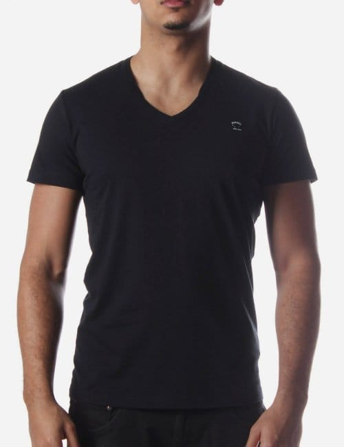 T brisko basic men 39 s v neck t shirt black for Mens diesel v neck t shirts