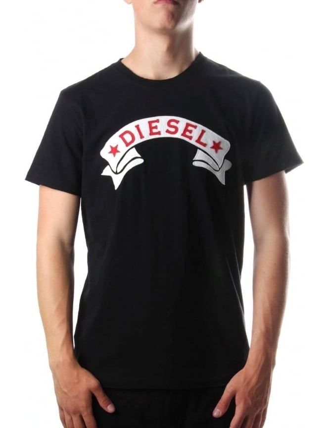 Diesel T-Diego-GH Men's Applique Banner Logo T-Shirt Black