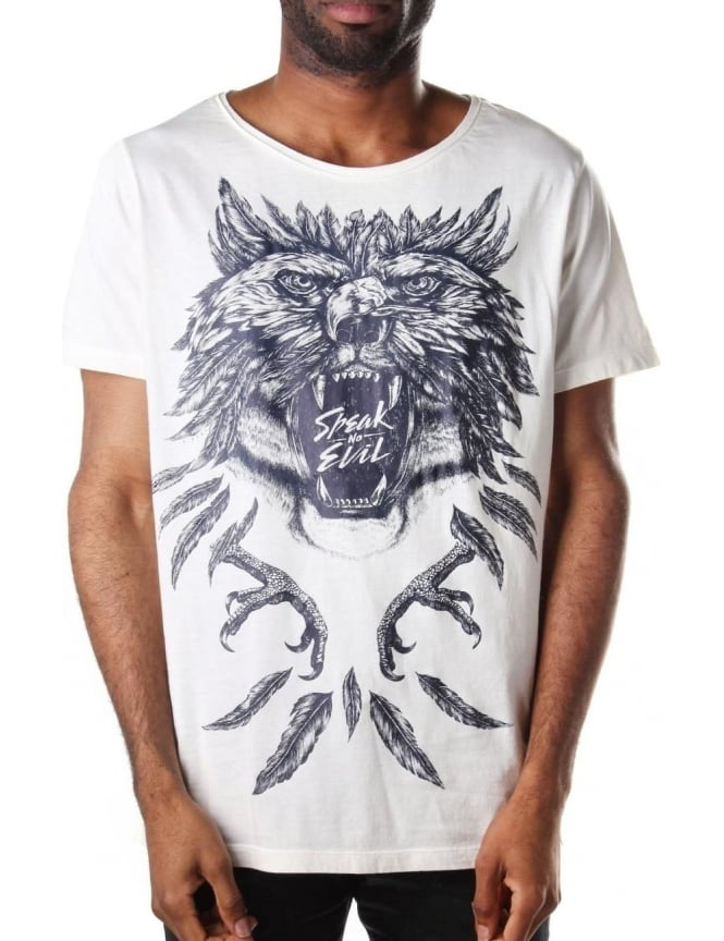 Diesel T-Joe-DC-A Men's Speak No Evil T-Shirt Ecru