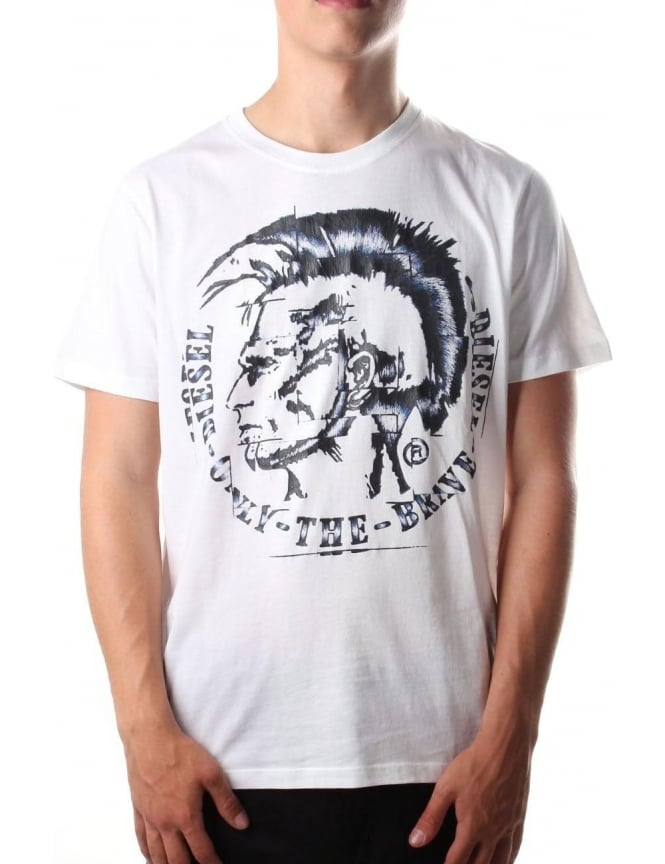Diesel T-Joe-GF Mohican Men's Logo T-shirt White