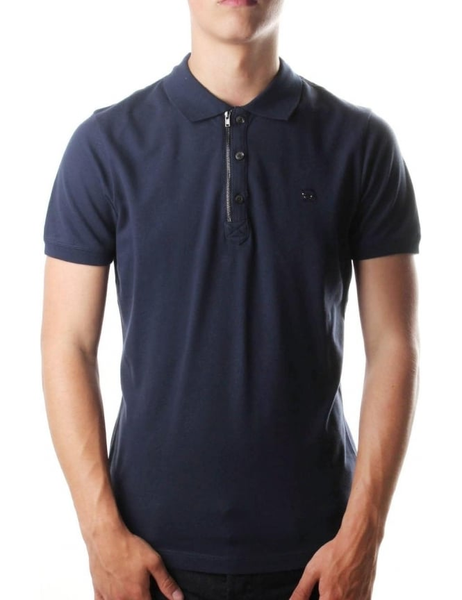 Diesel T-Kalar Men's Zip Polo Top Navy