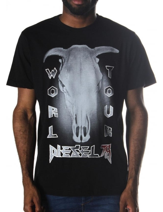Diesel T-Ral Buffalo Skull Printed Men's T-Shirt Black