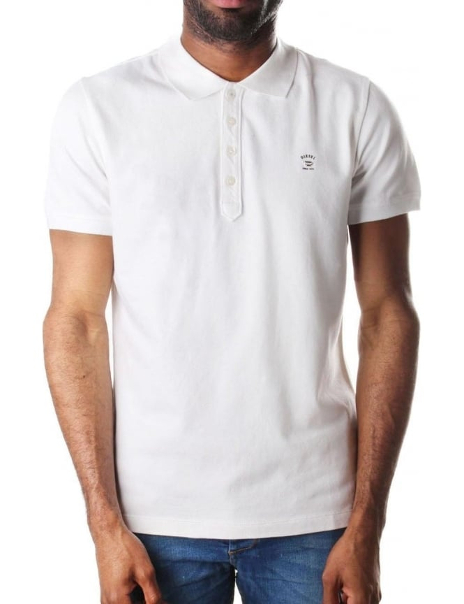 Diesel T-Yahie Men's Metal 'D' Logo Short Sleeve Polo Top
