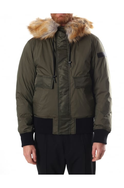 W-Galt Men's Faux Fur Padded Bomber Jacket