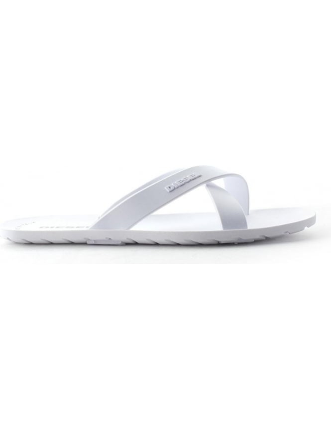Diesel Wash Cross Men's Flip Flop White