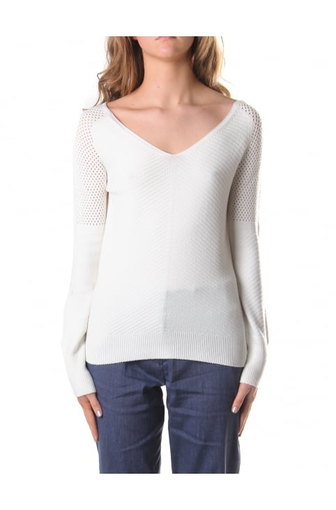 Women's V Neck M-Dadey Sheer Knit