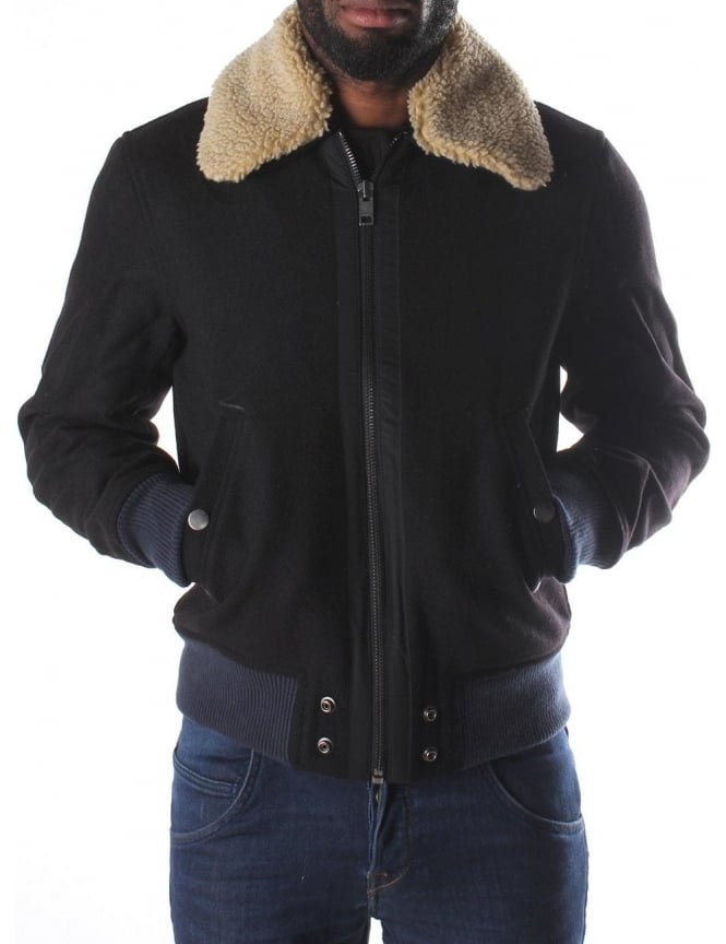 Diesel Wool Fly Men S Sherpa Collar Flight Jacket Black