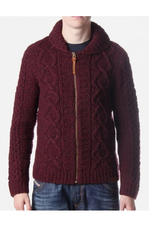 Zip Long Sleeve Men's Knit Burgundy