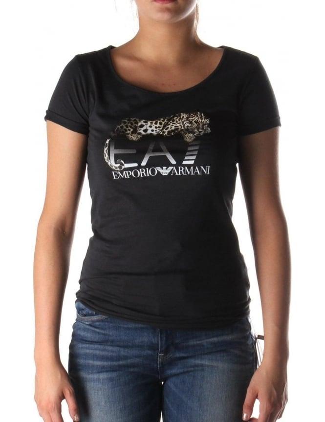 dec7a2176e10 Leopard Print Women's Crew Neck T-shirt Black