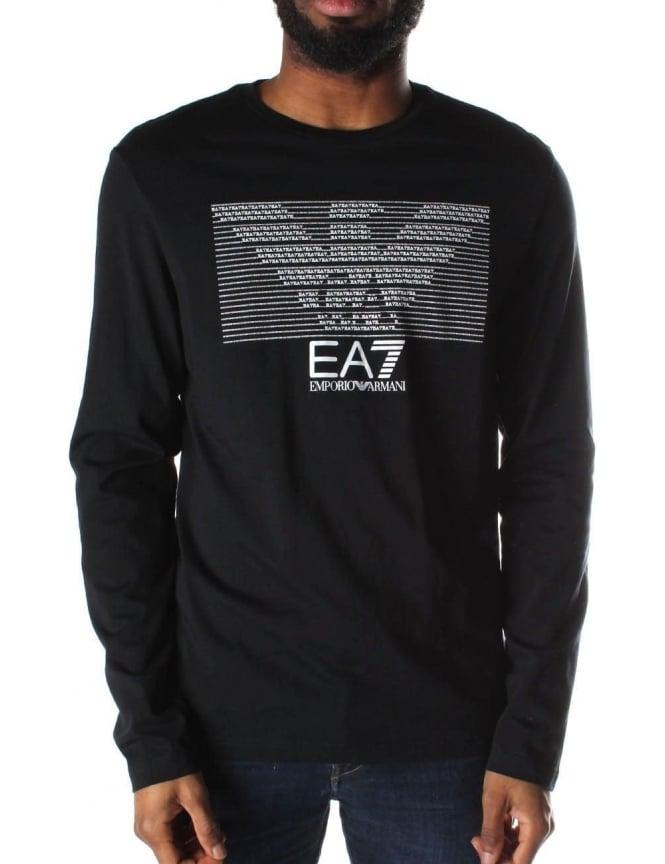 Logo Print Men  039 s Crew Neck Long Sleeve T-Shirt Dark Blue f7ee8c5521d32