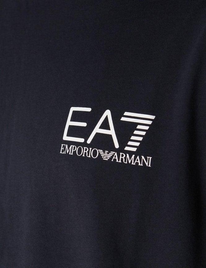 Logo Print Men  039 s Crew Neck Short Sleeve T-Shirt Dark Blue 86526bd027b27