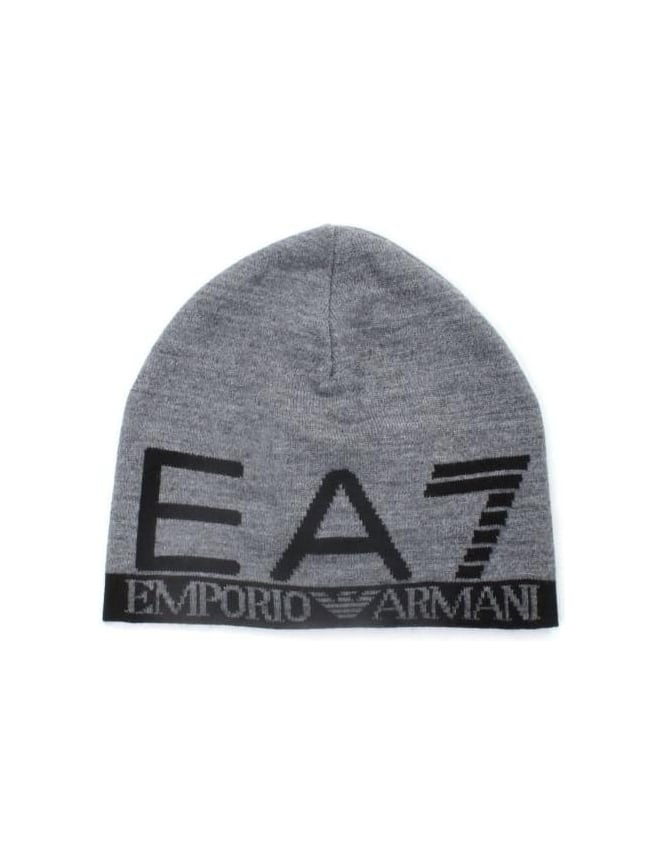 EA7 Men s Logo Beanie Hat Grey 9ba64467023