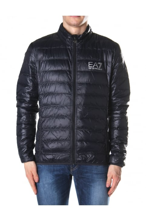 Men's Zip Through Down Jacket Blue Night