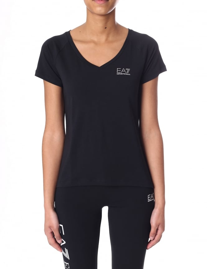 EA7 Women's Diamante Logo V Neck Tee