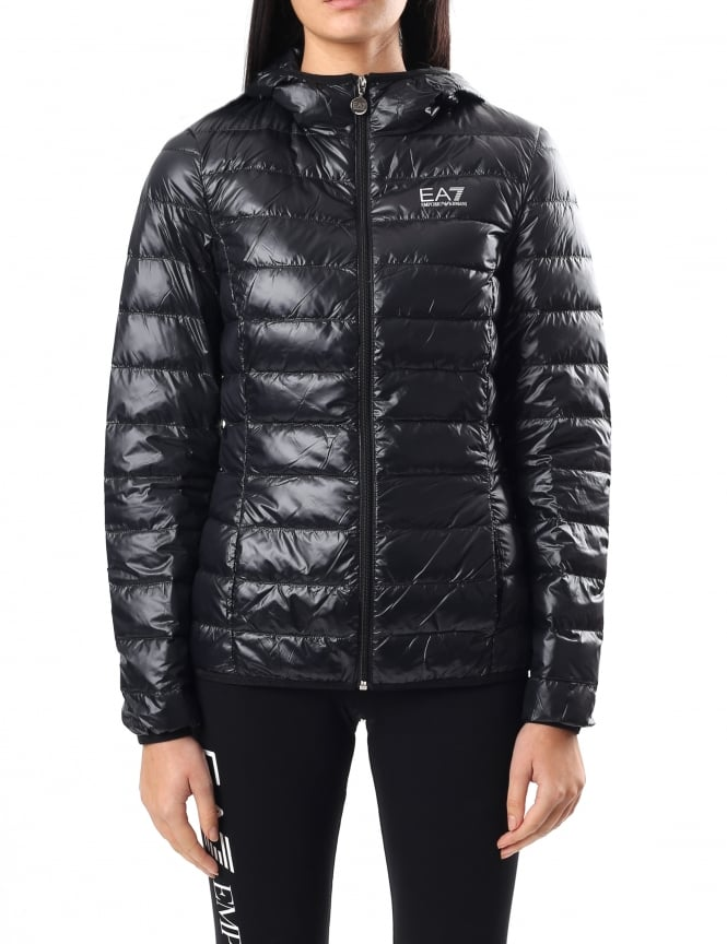 EA7 Women's Zip Through Hooded Down Jacket