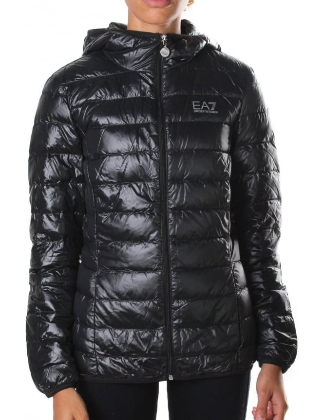 EA7 Zip Through Hooded Women's Down Jacket Black