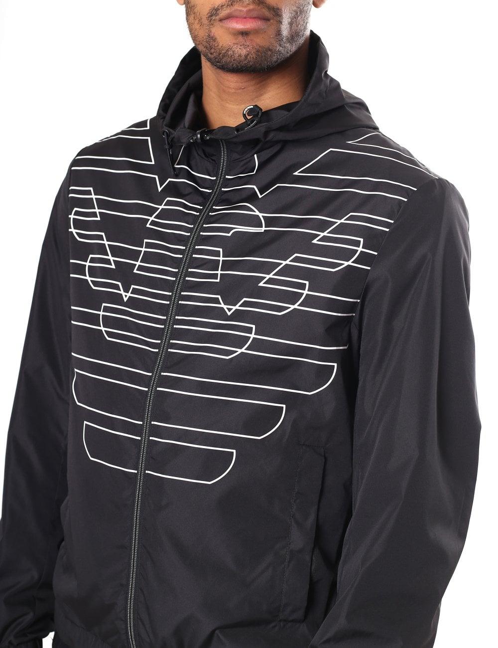 6730909851 Eagle Logo Zip Though Hooded Jacket