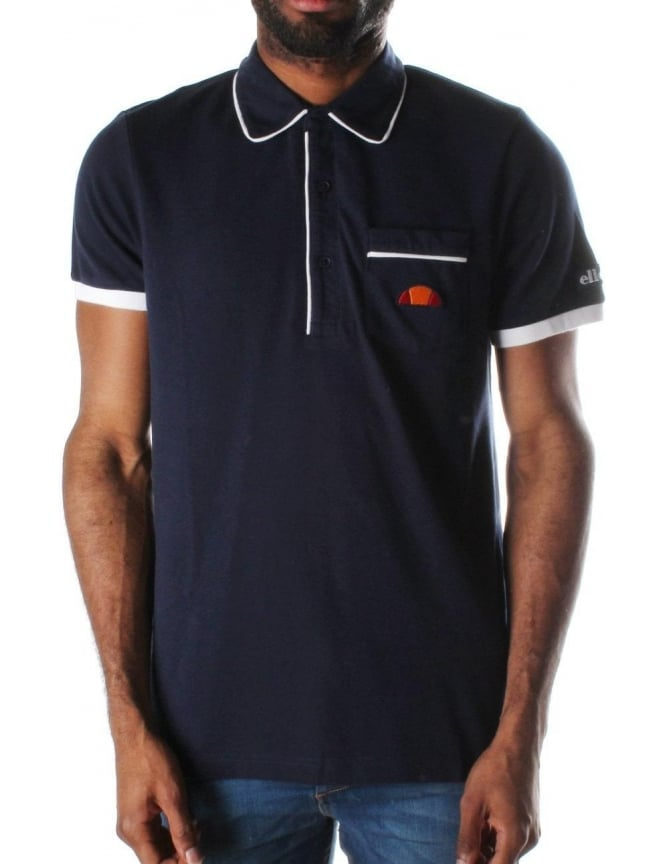 Ellesse Parma Contrasting Piping Mens Short Sleeve Polo top Dress Blue