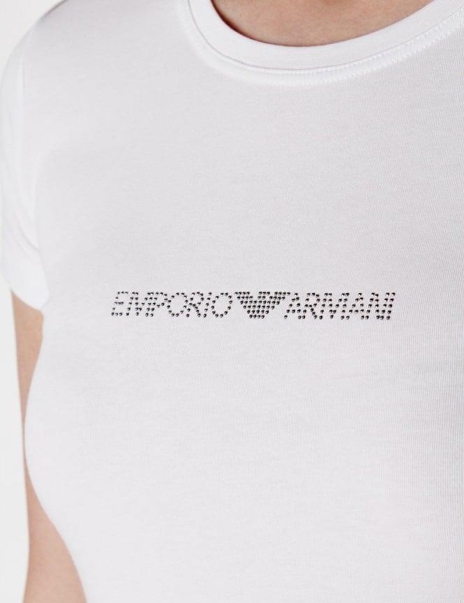 Emporio Armani Diamante Logo Crew Neck Women s T-shirt White 9e0f3a26c