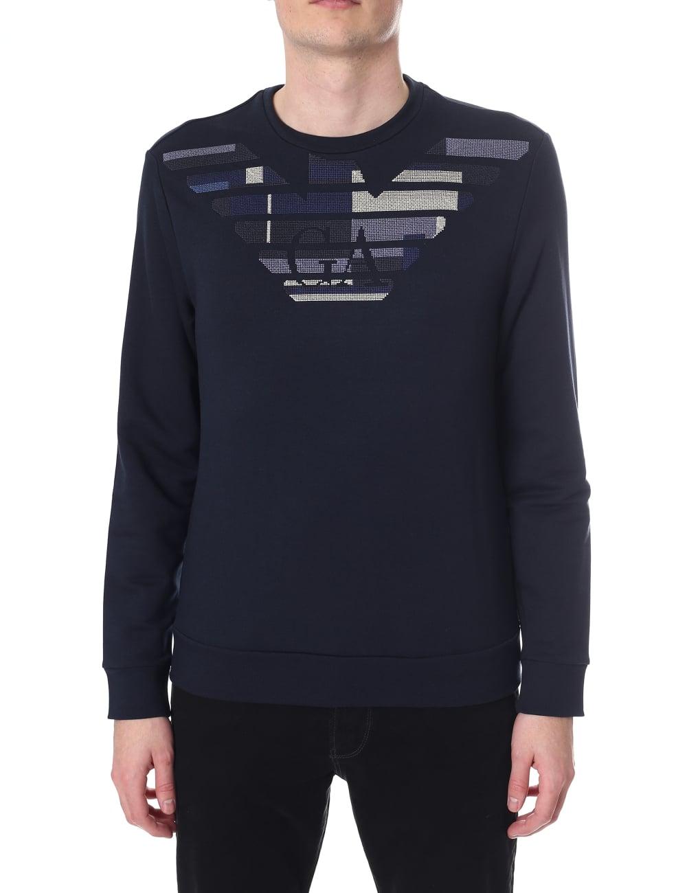 Armani Jeans Eagle Logo Crew Neck Sweat Top 4efc12dd67d2