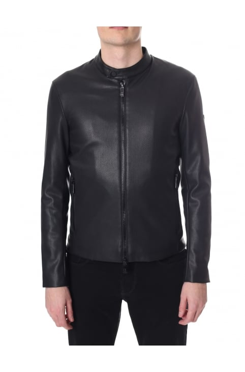 Perforated Zip Through Biker Jacket