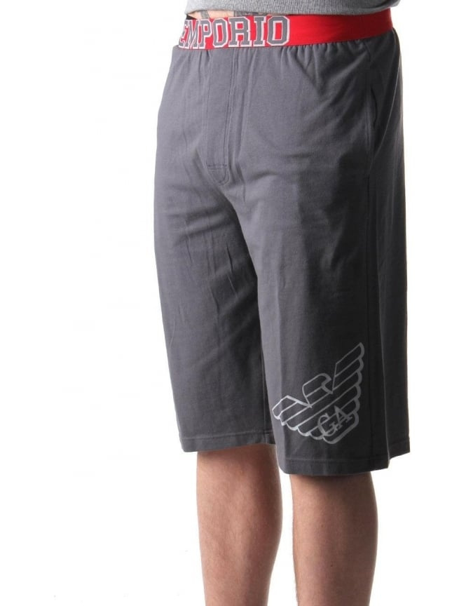 Emporio Armani Logo Waist Band Men's Bermuda Shorts Dark Grey