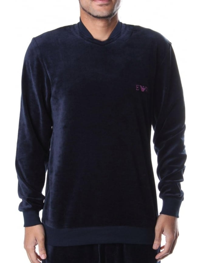 Emporio Armani Men's Velour Crew Neck Sweat Top