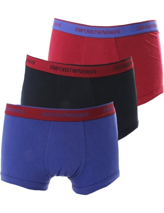 Emporio Armani Three Pack Men's Contrast Waistband Boxer Shorts