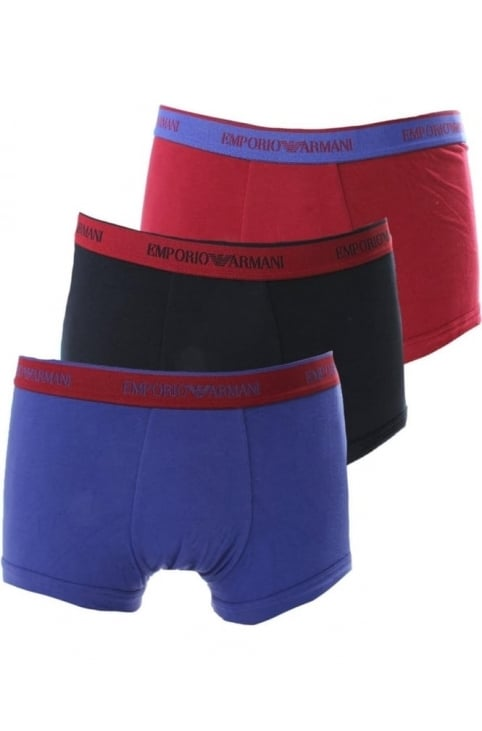 Three Pack Men's Contrast Waistband Boxer Shorts