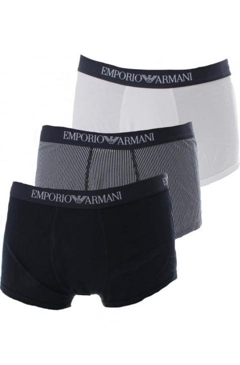 Three Pack Men's Multi Colour Boxer Shorts Dark Blue