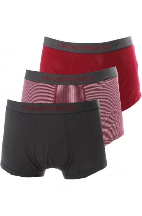 Three Pack Men's Multi Colour Boxer Shorts Burgundy