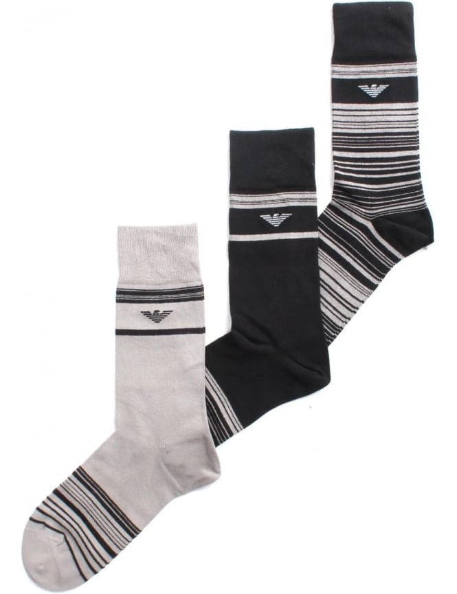 Emporio Armani Three Pack Of Stiped Socks