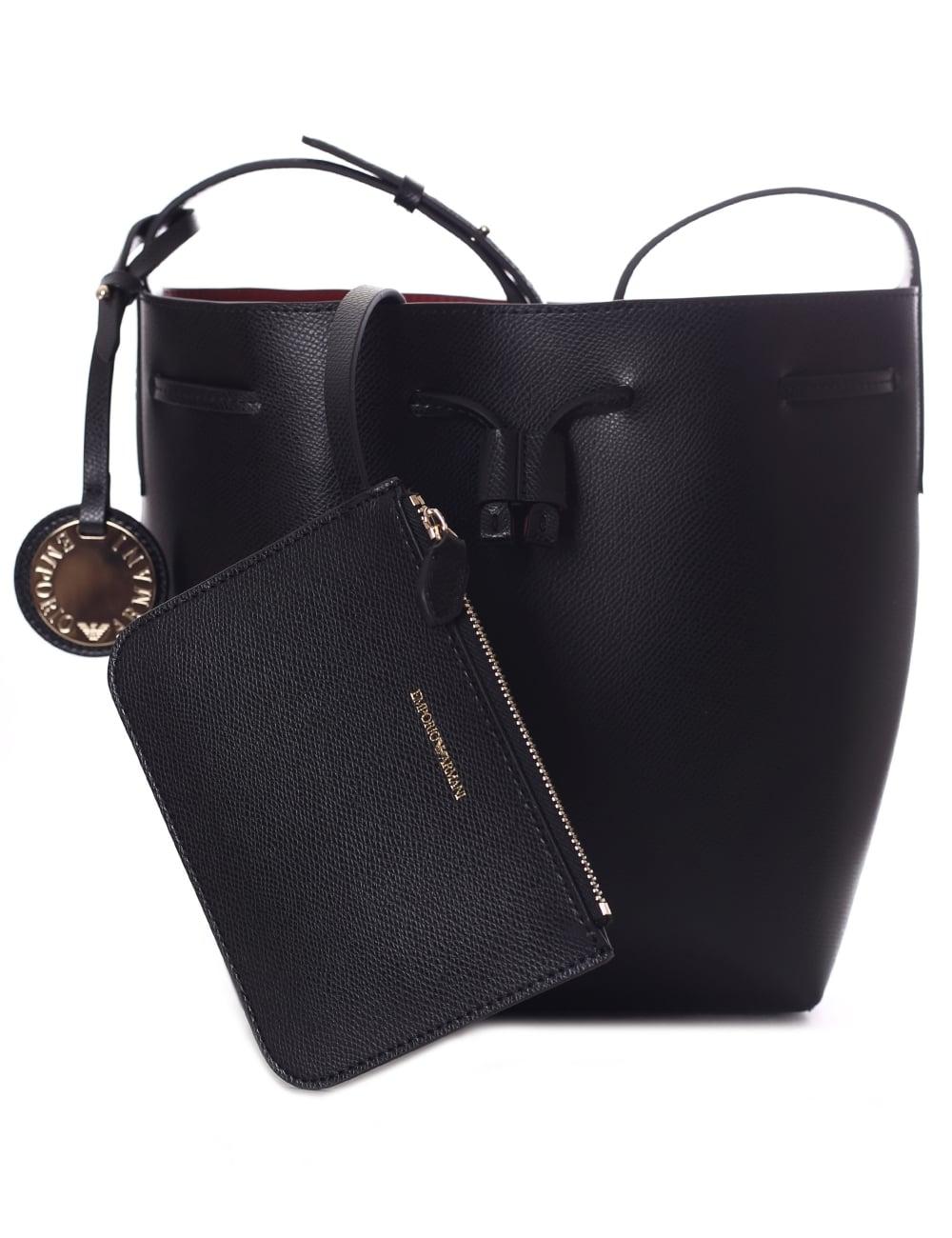 Emporio Armani Women s Bucket Bag Black Red 15cede9461c96