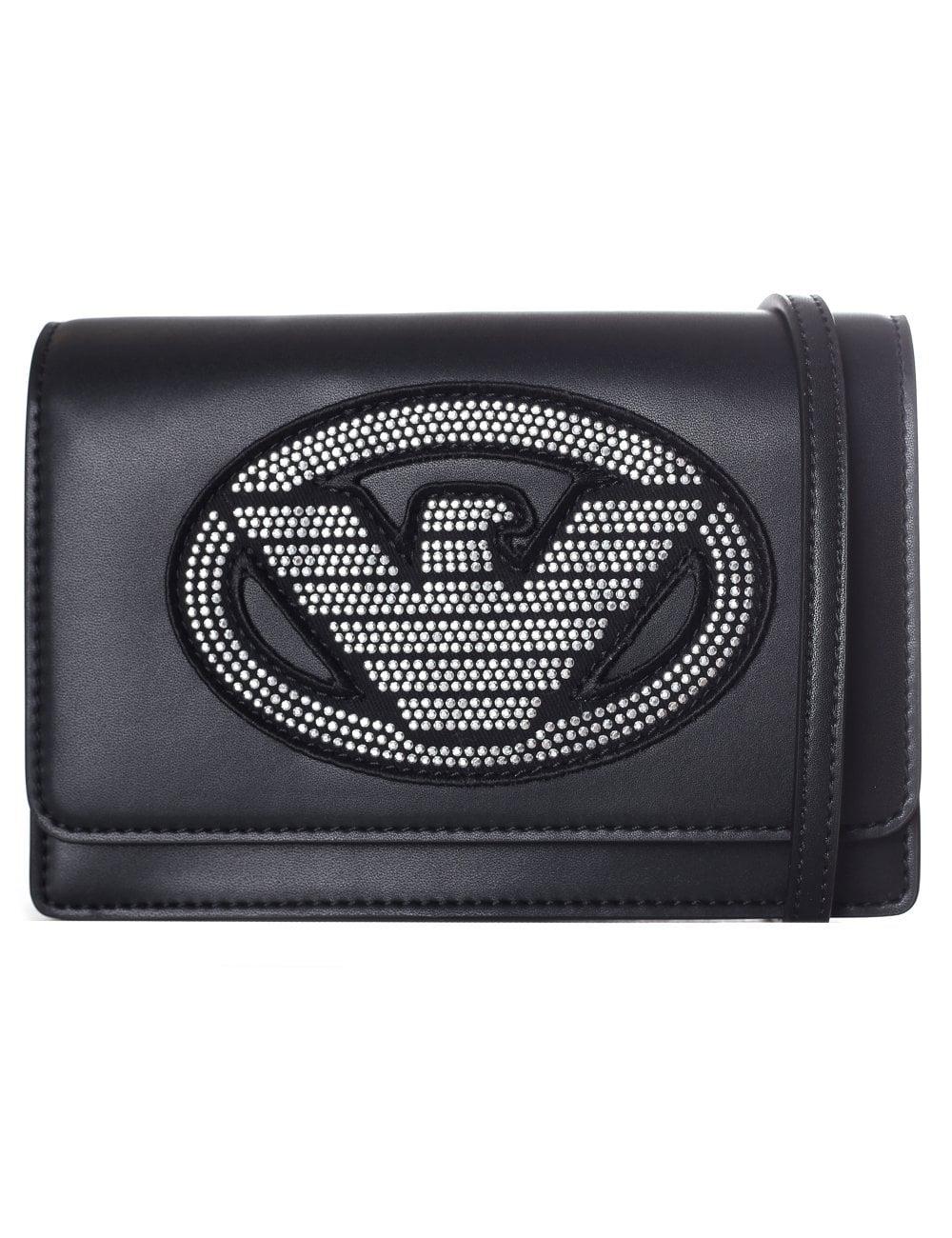 Emporio Armani Women s Embellished Eagle Sling Bag Black a8c5b7c24d29d