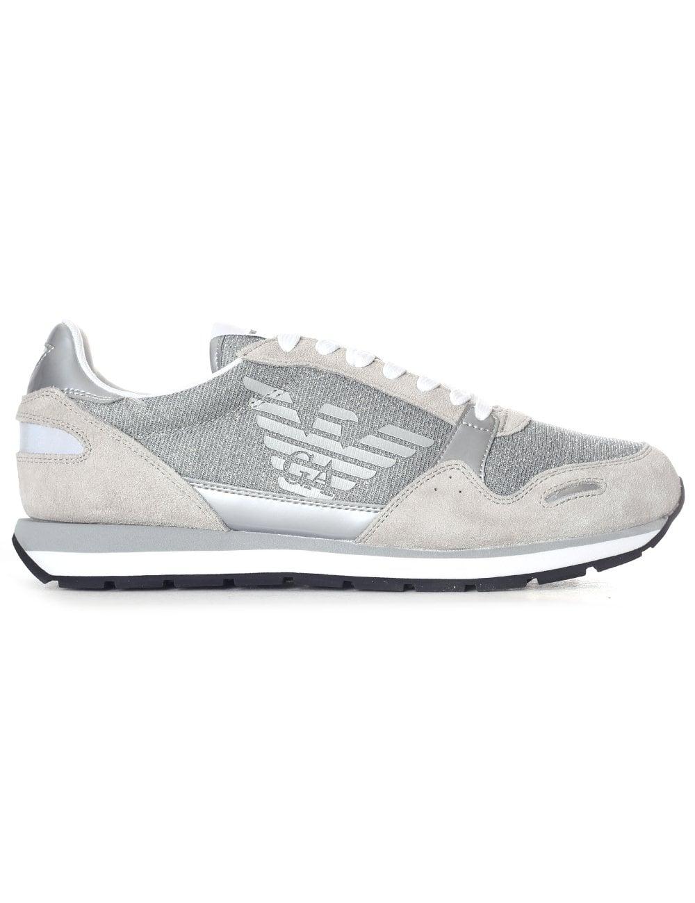 Glitter Armani Women's Sneaker Emporio Suedenylon Eagle 7yYbf6g