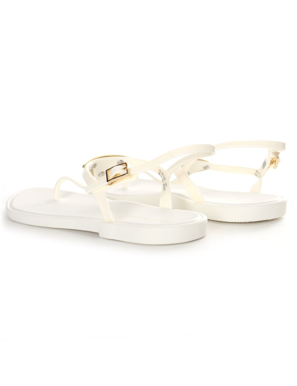 93518a3a8f52dc Emporio Armani Women s Gold Plaque Jelly Sandals