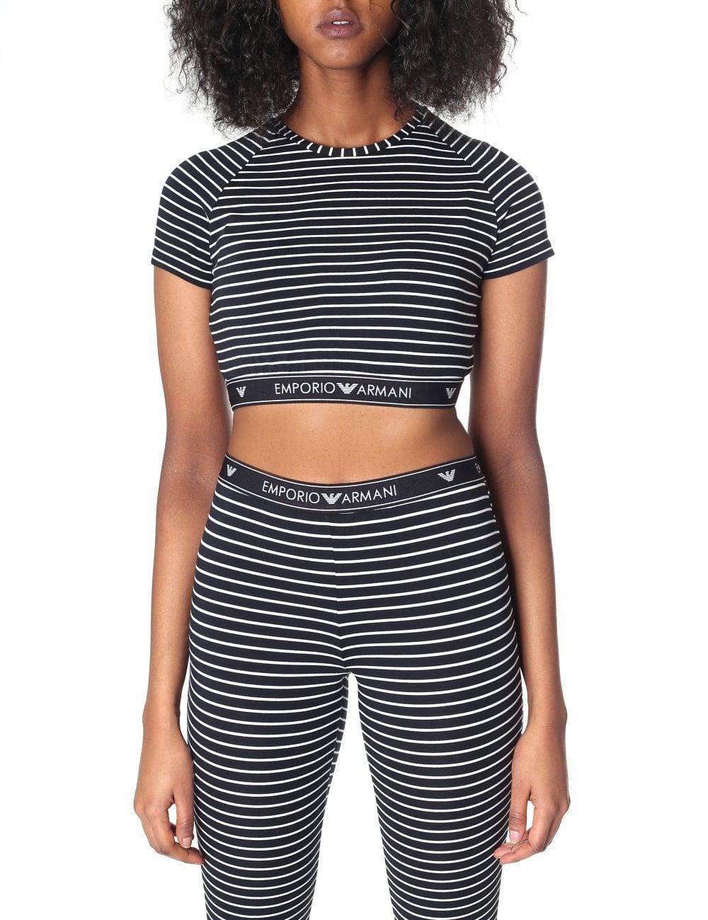 4e4cc70e92ef65 Emporio Armani Women s Stripe Crop Top