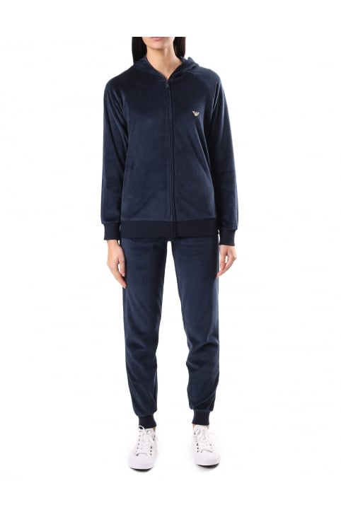 Women's Velour Zip Through Hooded Tracksuit