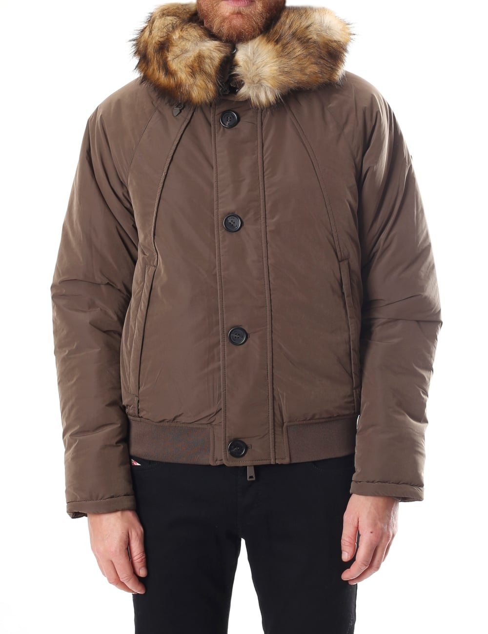 219fdc58 Faux Fur Trim Men's Bomber Jacket