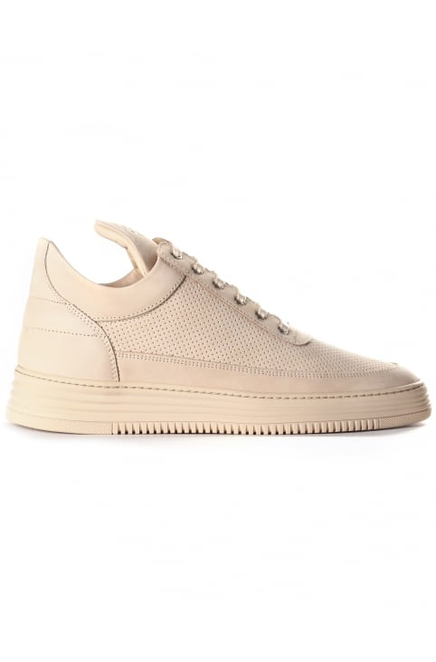 Men's Low Top Perforated Tone Trainer Beige