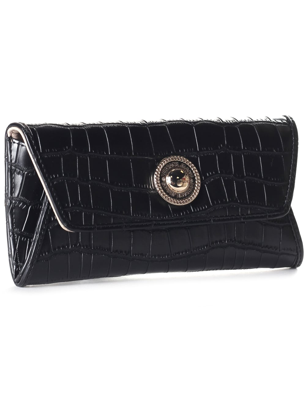 d223b8f6c1426 Versace Jeans Fold Over Women's Croc Clutch/Purse/Bag Black