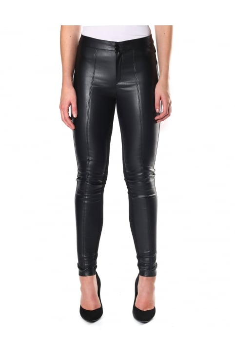 Women's Faux Leather Plain Leggings