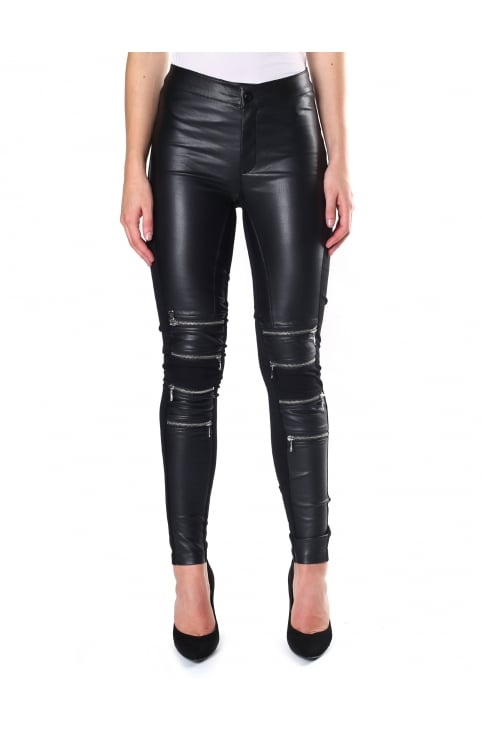 Women's Kath Zip Detail Faux Leather Legging