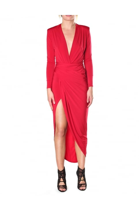 Women's Plunge Neck Dipped Hem Bardot Dress