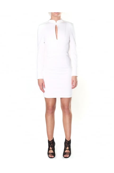 Women's Vicky Long Sleeve Button Cuff Keyhole Detail Short Dress